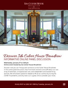 Discover Ida Culver House Broadview Retirement Community @ Ida Culver House Broadview |  |  |