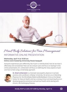 Webinar: Mind-Body Solutions for Pain Management @ University House Issaquah        