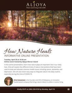 Webinar: How Nature Heals @ Aljoya Mercer Island |  |  |
