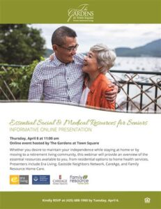 Webinar: Essential Social & Medical Resources for Seniors @ The Gardens at Town Square        