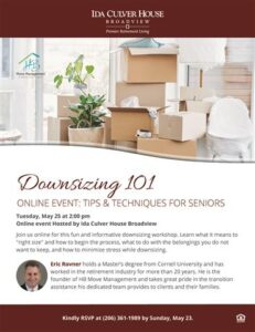 Webinar: Downsizing 101 @ Ida Culver House Broadview