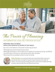 Webinar: The Power of Planning @ The Gardens at Town Square |  |  |