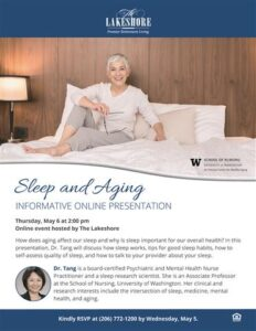 Online Event: Sleep and Aging @ The Lakeshore |  |  |
