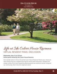 Virtual Resident Panel Discussion: Life at Ida Culver House Ravenna @ Ida Culver House Ravenna |  |  |