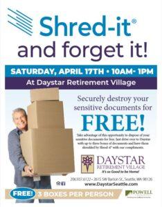 Shred it & Forget it! @ Daystar Retirement Village        