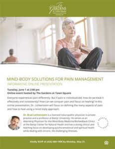 Online Event: Mind-Body Solutions for Pain Management @ The Gardens at Town Square |  |  |