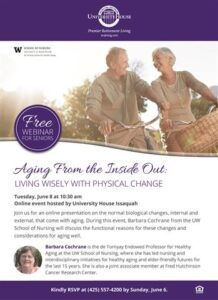 Webinar: Aging From the Inside Out - Living Wisely with Physical Change @ University House Issaquah |  |  |