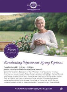 Webinar: Evaluating Retirement Living Options @ University House Issaquah