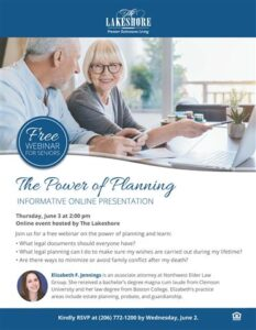 Online Event: The Power of Planning @ The Lakeshore |  |  |