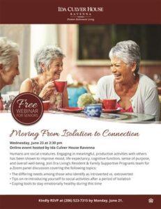 Webinar: Evaluating Retirement Living Options @ Ida Culver House Ravenna