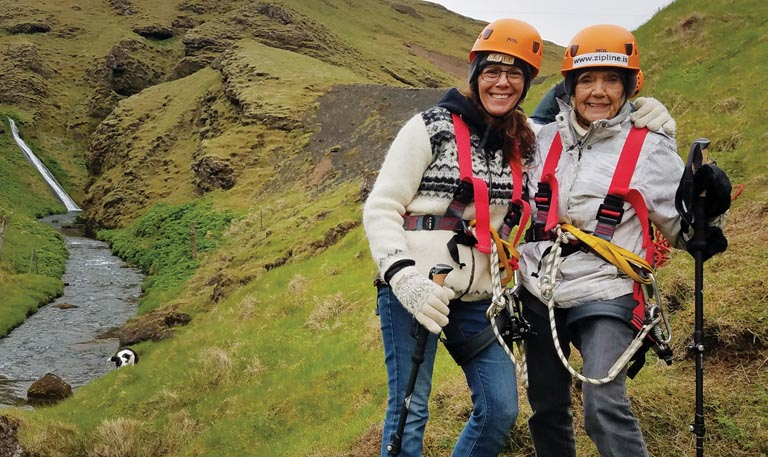 THerman goes zipling with her mother Ieda, age 93, near Vik on the southern coast of Iceland.