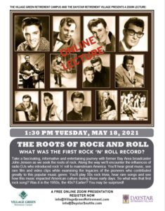 The Roots of Rock n' Roll-Virtual lecture by former broadcaster John Jensen @ Powell Senior Communities |  |  |