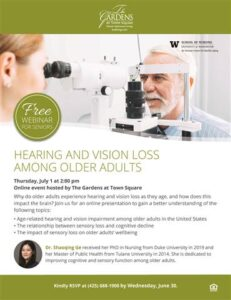 Online Event: Hearing and Vision Loss Among Older Adults @ The Gardens at Town Square |  |  |