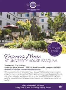 Outdoor Event: Discover More at University House Issaquah @ University House Issaquah        