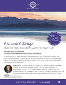 Webinar: Climate Change and the Puget Sound's Marine Ecosystem @ University House Wallingford