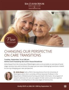 Webinar: Changing Our Perspective on Care Transitions @ Ida Culver House Broadview        