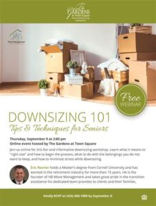 Webinar: Downsizing 101 @ The Gardens at Town Square        